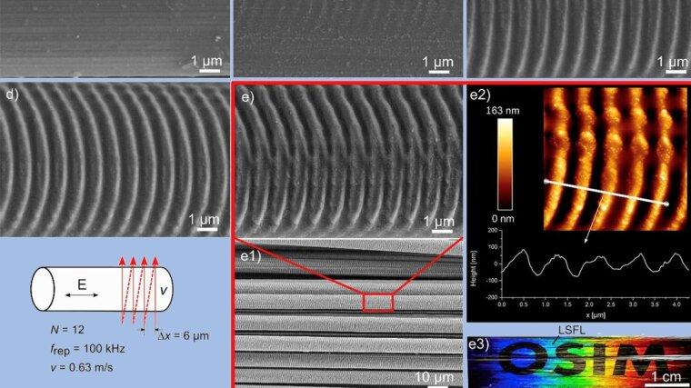 Herstellung von LSFL auf Kohlenstofffasern durch unidirektionales Scannen